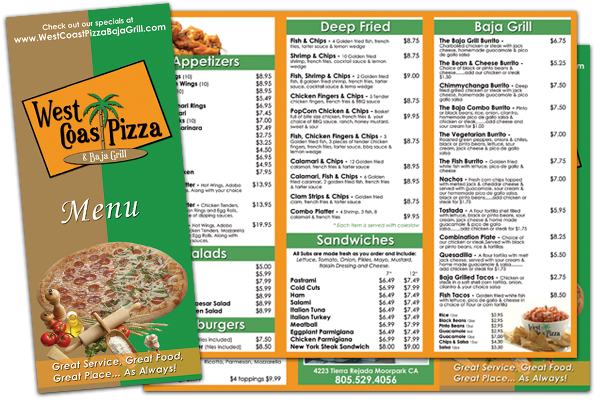West Coast Pizza & Baja Grill Menu Design