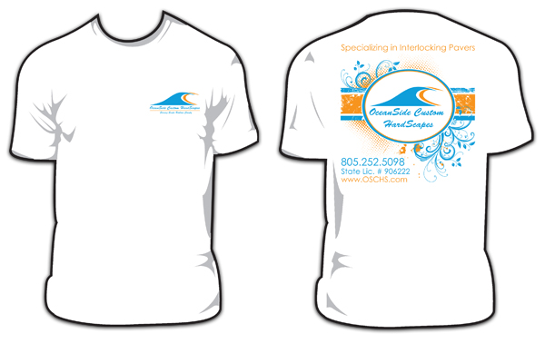 OceanSide Custom Hardscapes - Santa Barbara Screen Printing Shirt Designs